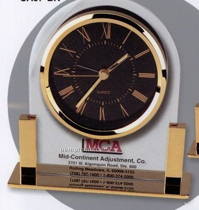 Brass & Glass Desk Alarm Clock With Black Dial
