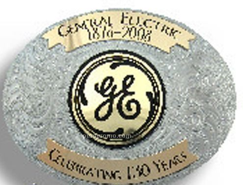 German Silver Belt Buckle W/ Gold Imprint Area