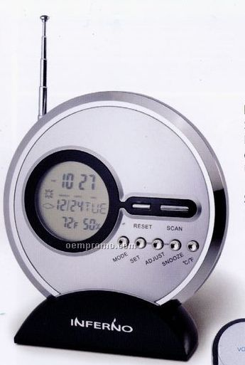 Slim FM Scan Radio W/ Clock, Calendar & Temperature Display
