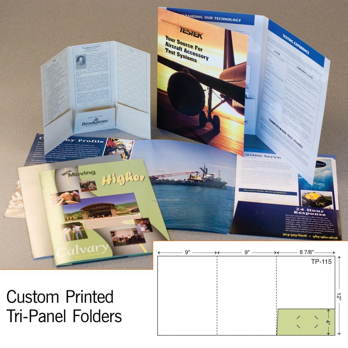Tri Panel Folder W/ Single Scored Spine & Glued Right Pocket (1 Color)