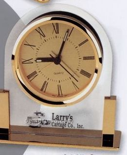Brass & Glass Desk Alarm Clock With Gold Dial