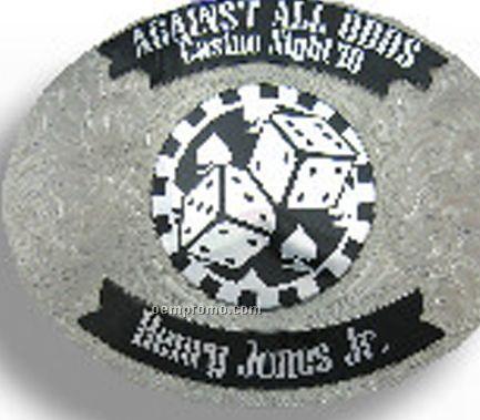 German Silver Belt Buckle W/ Black Imprint Area