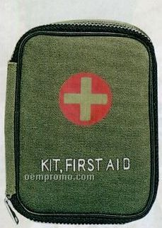 Olive Green Drab Military Zipper First Aid Kit