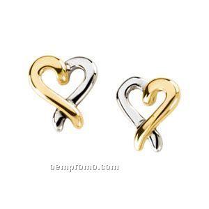 14ky Electroform Heart Earrings