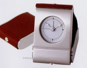 Foldable Silver & Leather Travel Alarm Clock