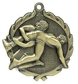 "Medal, ""Wrestling"" - 1-3/4"" Wreath Edging"