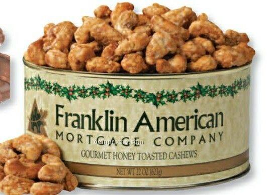 Salted Jumbo Cashews Can W/ Custom Label 20 Oz.