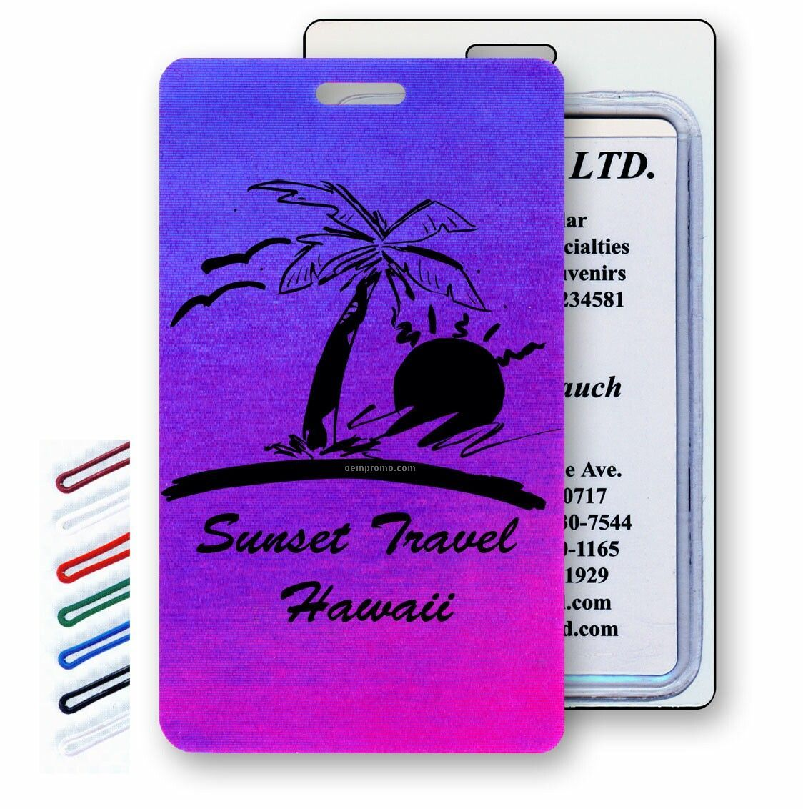 Pink/Purple Lenticular Luggage Tags (Stock) Change Color