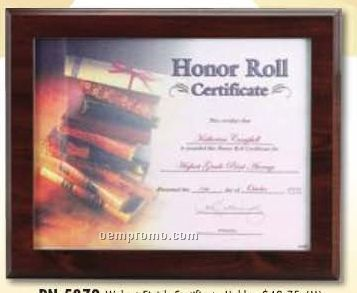 Ruby Color Certificate Holder Plaque W/ Certificate Side Entry Slot