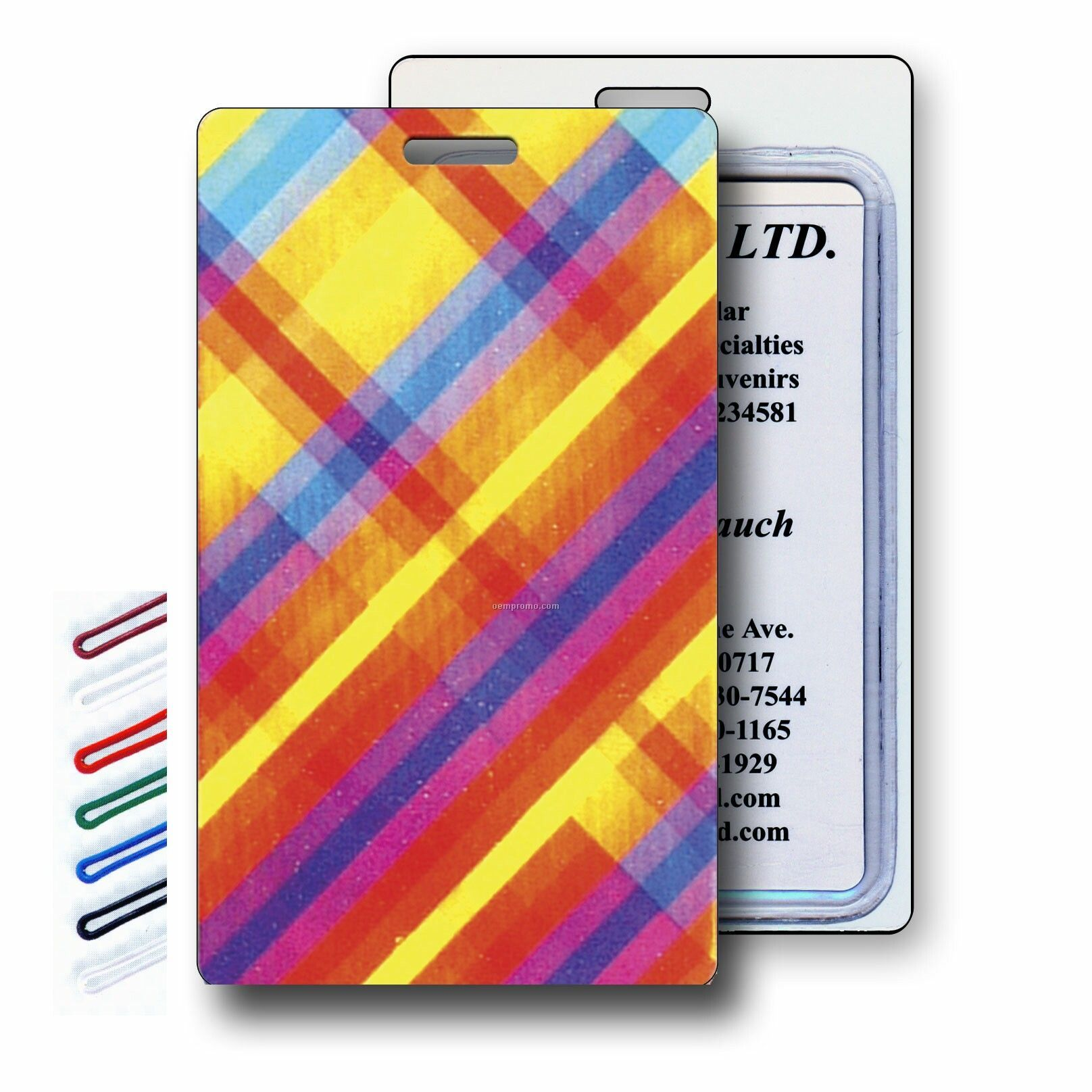 Lenticular Luggage Tags (Stock) Flip Multi-color Plaid