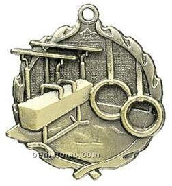 """Medal, """"Gymnastics"""" Male - 1-3/4"""" Wreath Edging"""