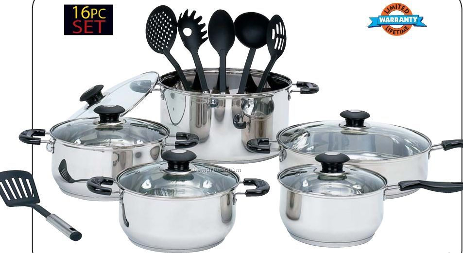 Wyndham House 16 PC Stainless Steel Cookware And Kitchen Tool Set