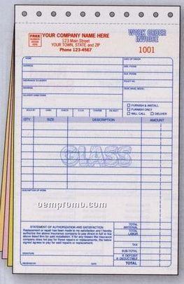 Glass Repair Work Order/ Invoice (3 Part)