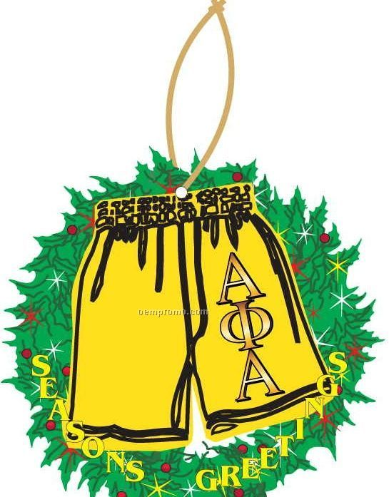 Alpha Phi Alpha Fraternity Shorts Wreath Ornament / Mirror Back (8 Sq. In.)