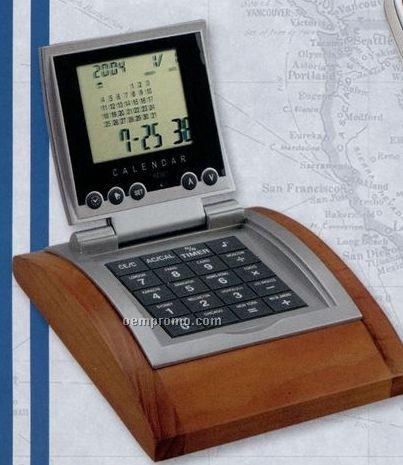 Removable World Time Alarm Clock / Calendar / Calculator On Wood Base
