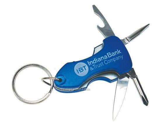 Multi Function Tool Keychain W/ Flashlight - Blue