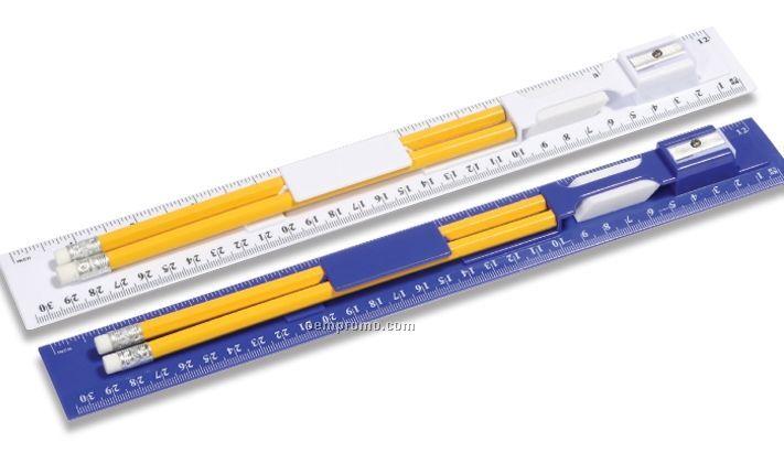 Writing Ruler Kit / 2 Pencil/Ruler/Pencil Sharpener