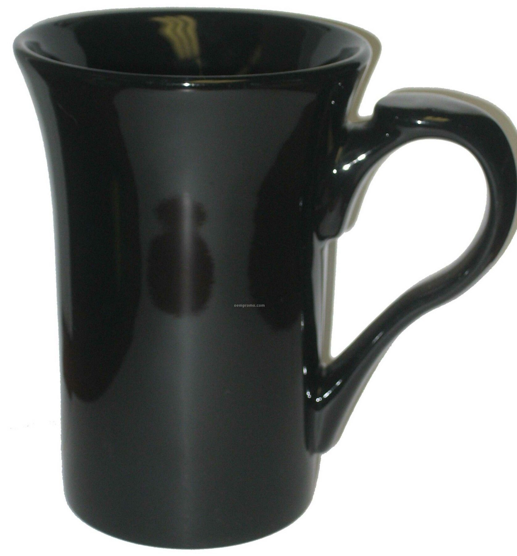 15 Oz. Black Stow Funnel Latte Mug With Thumbprint Handle