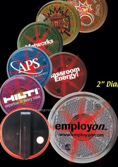 """2"""" Red Light-up Round Safety Reflector"""