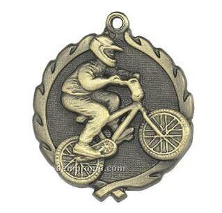 """Medal, """"Bmx Racing"""" - 1-3/4"""" Wreath Edging"""