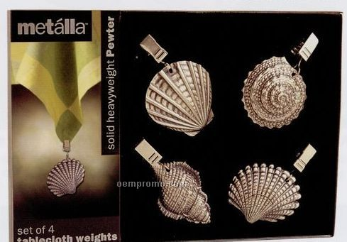 Metalla Pewter 4 Piece Seashells Tablecloth Weights Set
