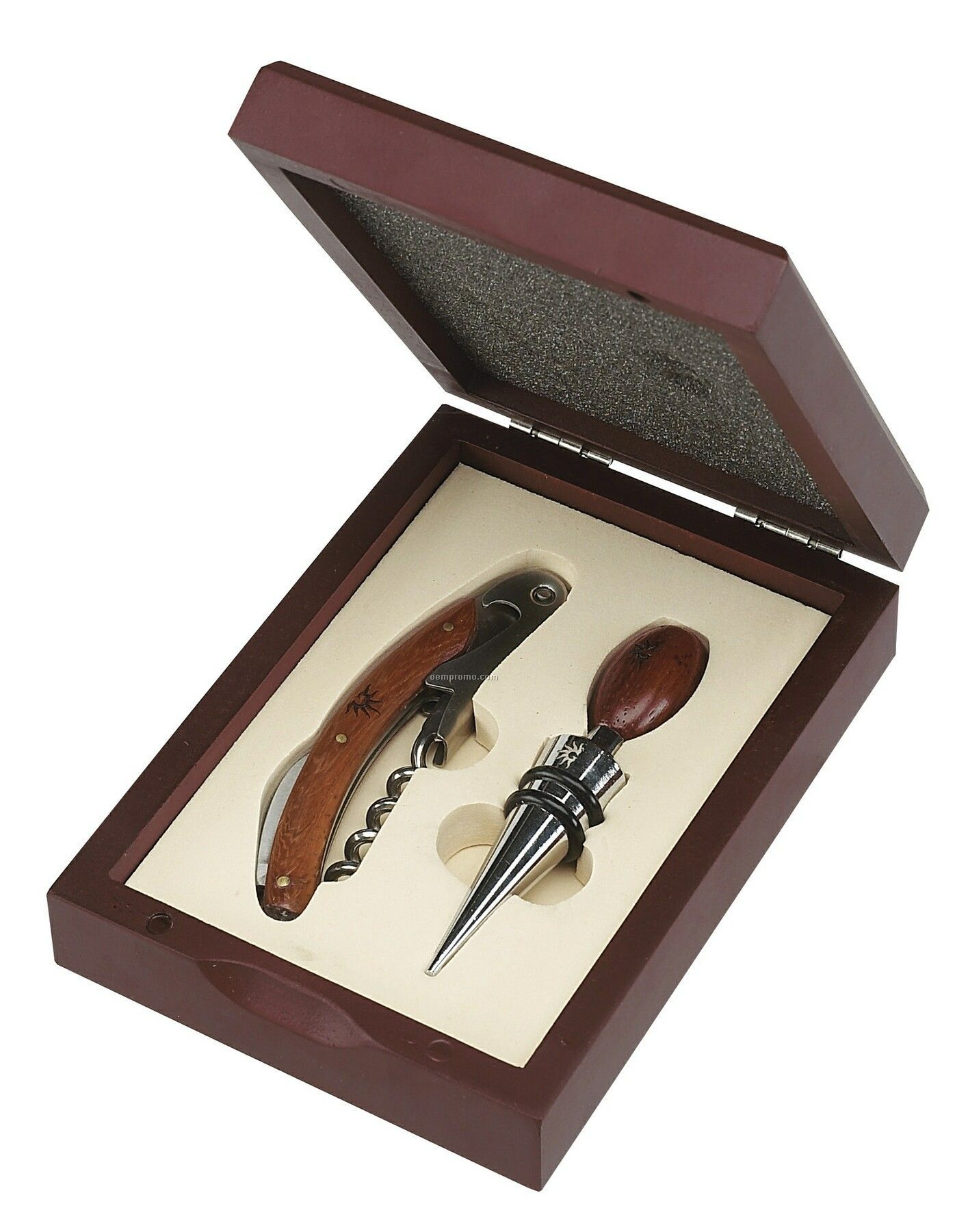 2 Piece Wine Opener Set W/ Wood Trim (Vertical Box)
