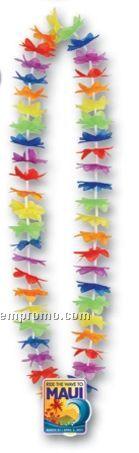 "40"" Floral Leis W/ Plastic Medallion (Multiple Color Flowers)"
