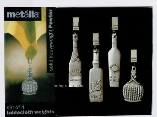 Metalla Pewter 4 Piece Wine Bottle Tablecloth Weights Set