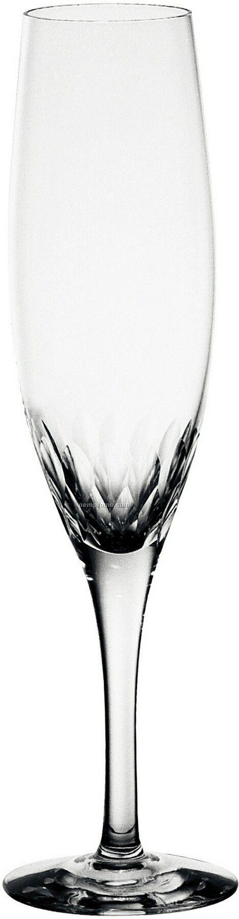 Prelude Crystal Champagne Flute Glass W/ Leaf Pattern