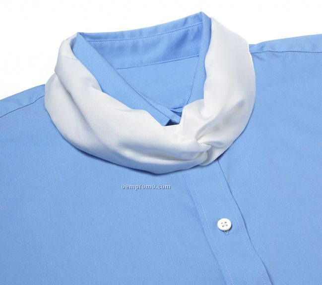 Wolfmark Solid Series Polyester Satin Velcro Band Knot Scarf - White