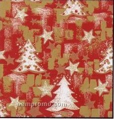 """24""""X100' Paper Or Foil Snowy Christmas Trees Gift Wrap W/ Cutter Box"""