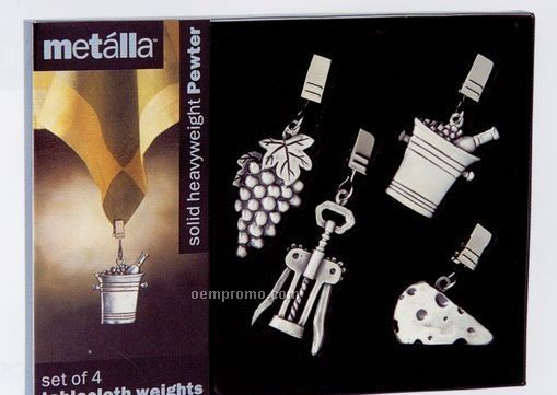 Metalla Pewter 4 Piece Wine & Cheese Tablecloth Weights Set