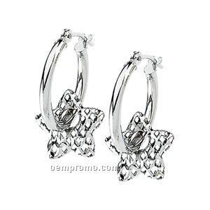 14kw Hoop Earring With Star Dangle Earring