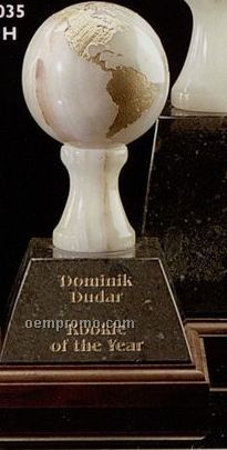 "3"" White/ Green Marble Grand World Globe Award On Base"