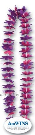 "40"" Floral Leis W/ Custom Paper Medallion (Purple & Red Flowers)"