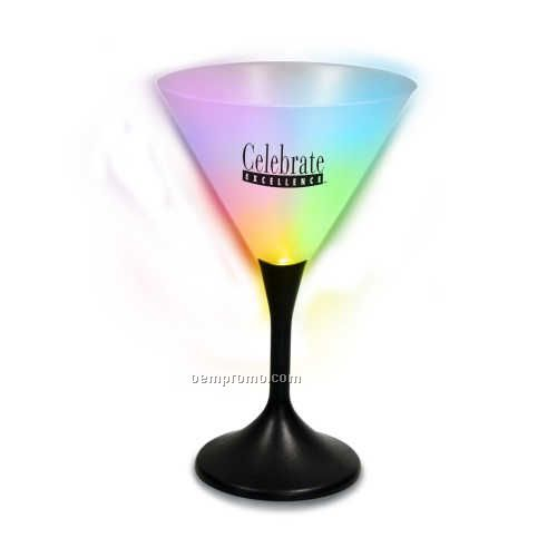 Black Stem Martini Glass With Your Choice Of LED Color