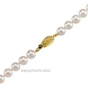 """Ladies' 6 To 6-1/2mm Cultured Pearl Strand Bracelet W/ 14ky Clasp 24"""""""