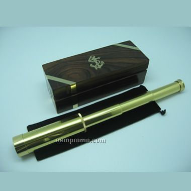 4 Section Brass Telescope In Wood Box