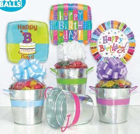Galvanized Birthday Tin Gift W/ Get Well Message Balloon (4 Pack)