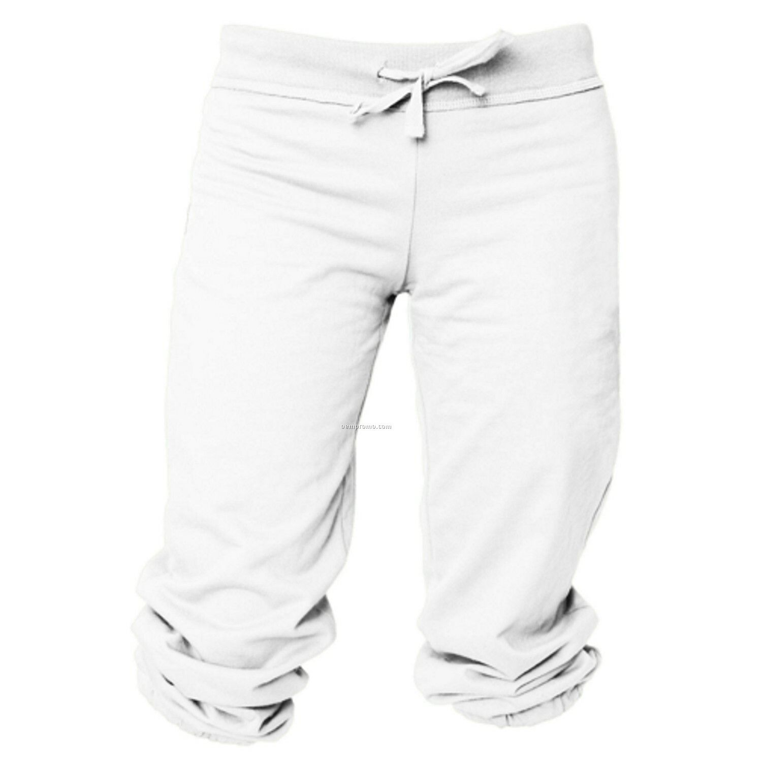 Adult White Touchdown Cuffed Sweat Capris