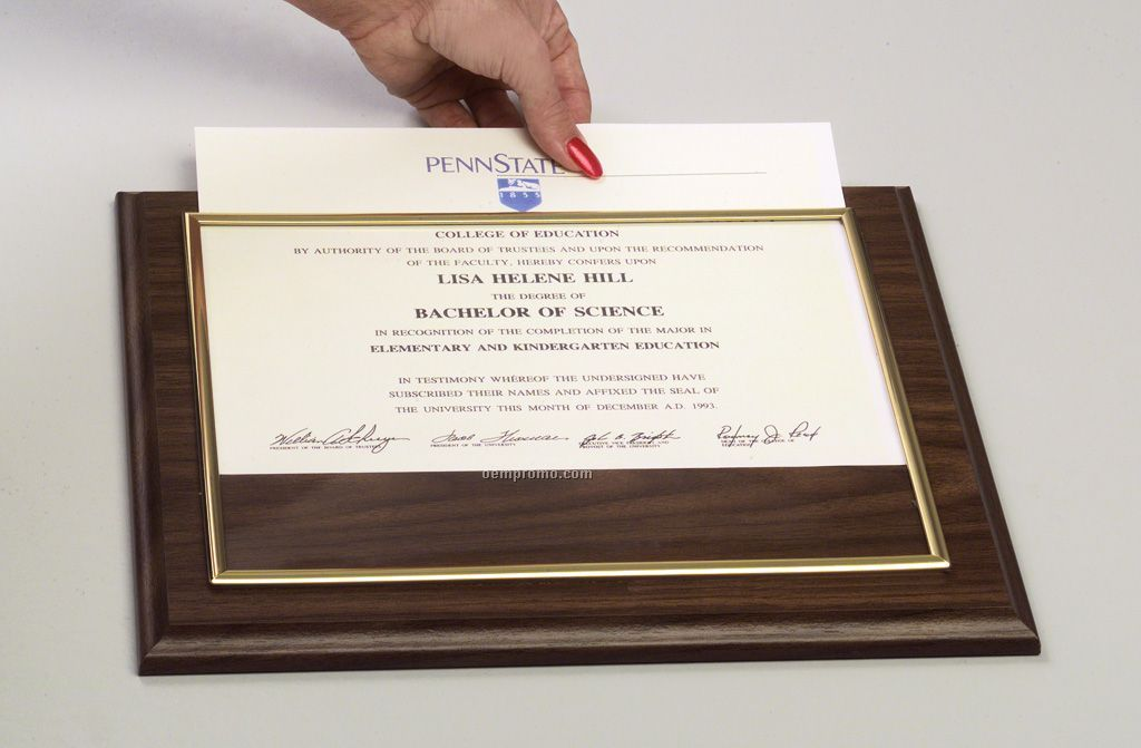 Certificate Holder Plaque W Molded Plexiglass 10 1 2
