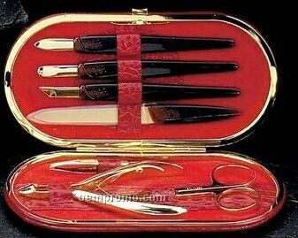 7 Piece Manicure Set In Red Leather Croco Case - Gold Plated
