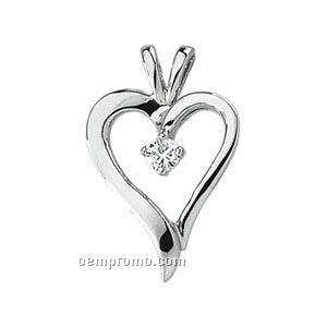 Ladies' 14kw 1/10 Ct Tw Diamond Round Heart Pendant