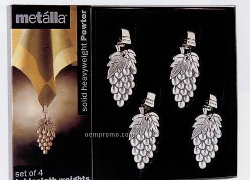 Metalla Pewter 4 Piece Grapes Tablecloth Weights Set