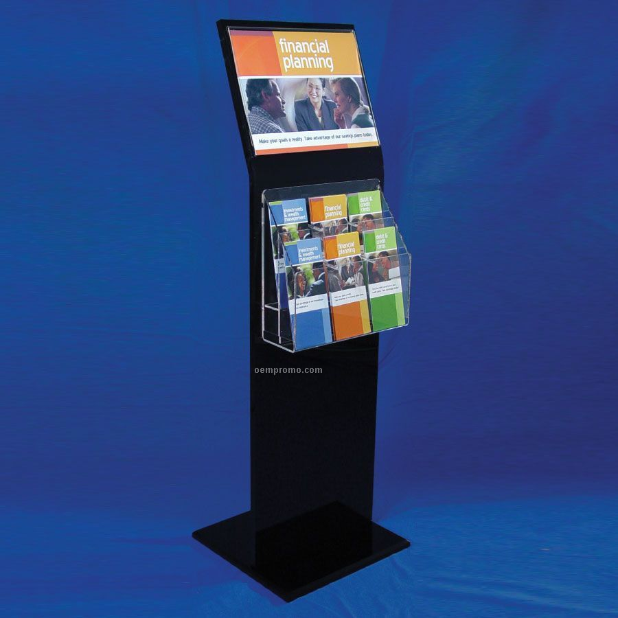 Exhibition Stand Wholesale : Black acrylic display stand w angled sign holder china
