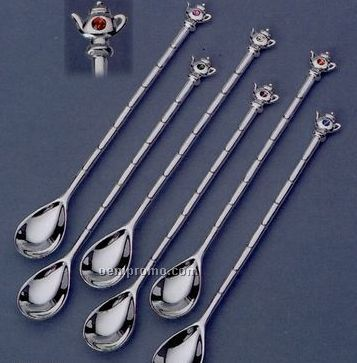 6 Piece Silver Plated Teapot Ice Tea Spoon Set W/ Austrian Crystal Accent