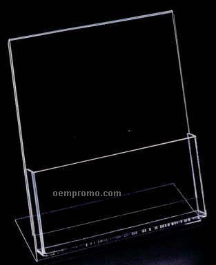 "Acrylic Sign Holder W/ 8-7/8""X4""X1-1/2"" Literature Pocket"