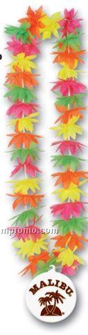 """44"""" Lotus Leis W/ Custom Paper Medallion (Multiple Flower Color)"""