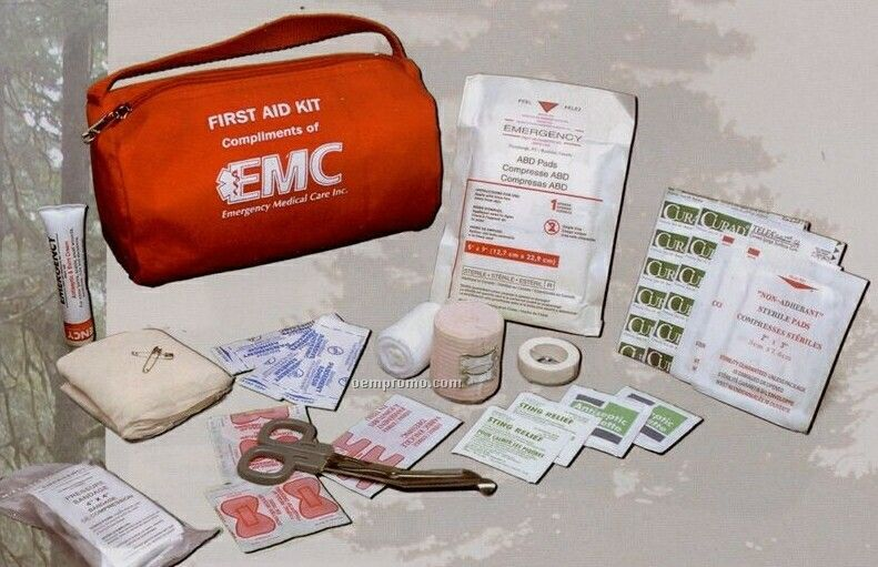 Camper's First Aid Kit In A Soft Pack Cylinder Bag