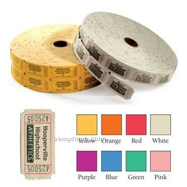 Custom Printed Single Roll Tickets - 1 Color Imprint